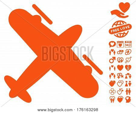 Propeller Aircraft pictograph with bonus valentine pictograms. Vector illustration style is flat iconic orange symbols on white background.