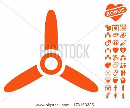 Three Bladed Screw icon with bonus dating pictograms. Vector illustration style is flat iconic orange symbols on white background.