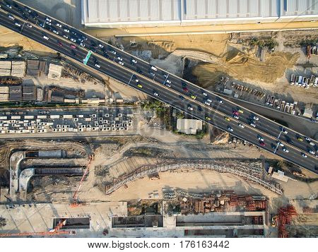Aerial View Of A Underconstruction Mass Transit System