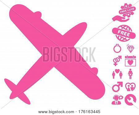 Aeroplane icon with bonus love symbols. Vector illustration style is flat iconic pink symbols on white background.