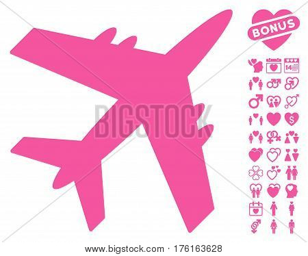 Aircraft pictograph with bonus dating pictograph collection. Vector illustration style is flat iconic pink symbols on white background.