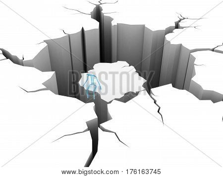 3d render. circular hole in the ground, man on the island