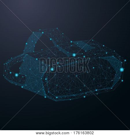 Virtual reality helmet abstract cosmic design vector illustration