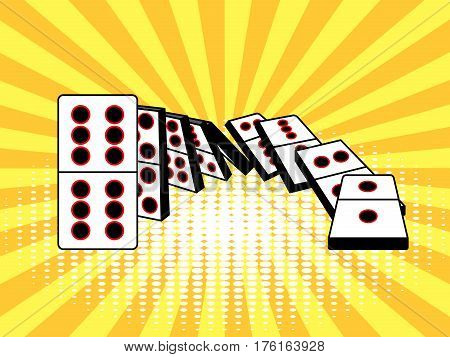 Falling dominoes comic book pop art retro style vector illustration