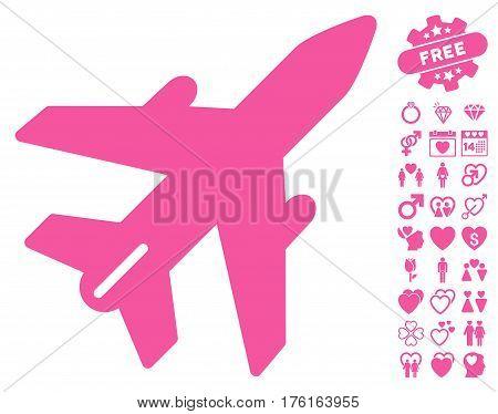 Airplane icon with bonus valentine symbols. Vector illustration style is flat iconic pink symbols on white background.