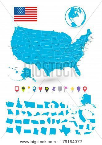 Map of USA with it's states and flat map pointers isolated on white.