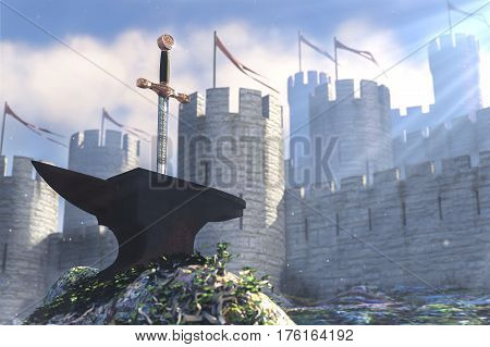 3D illustration of legend about sword in anvli and stone