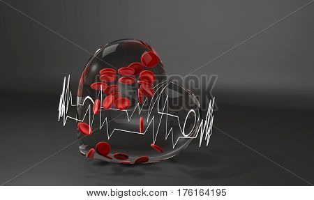 National Blood Donor. Glass heart with blood cells and diagram, 3d Illustration