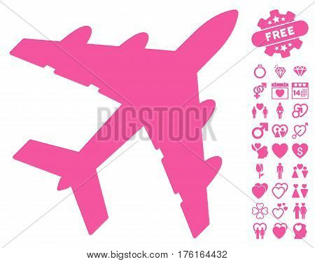 Bomber pictograph with bonus dating design elements. Vector illustration style is flat iconic pink symbols on white background.