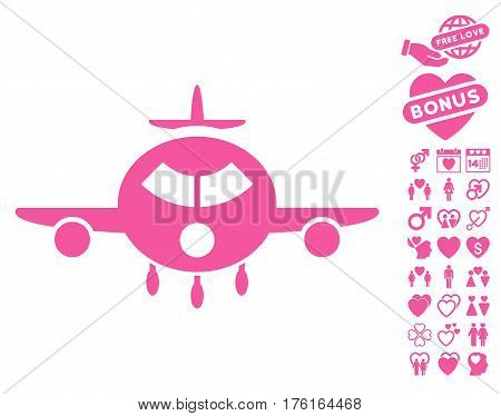 Cargo Aircraft icon with bonus valentine pictures. Vector illustration style is flat iconic pink symbols on white background.