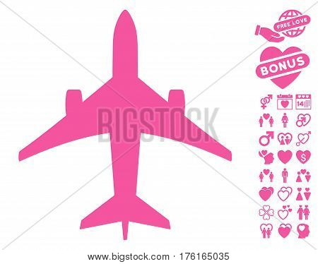 Jet Plane pictograph with bonus dating images. Vector illustration style is flat iconic pink symbols on white background.