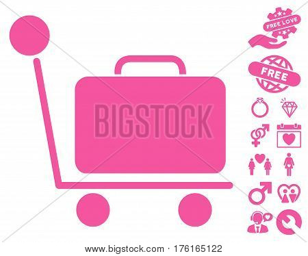 Luggage Trolley pictograph with bonus lovely pictograph collection. Vector illustration style is flat iconic pink symbols on white background.