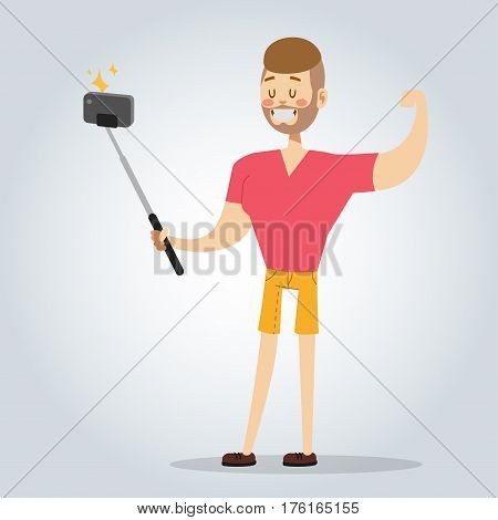 Selfie photo shot man or boy vector portrait illustration on white background. People fun vector illustration. Selfie shot man, boy, teenager, adult boy. Vector selfie people. Young happy life concept