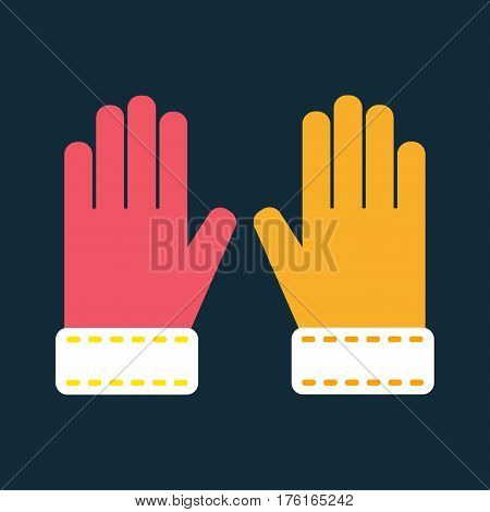 Snowboard sport clothes glove elements. Snowboarding glove elements isolated on background. Snowboard vector cloth, snowboard glove, snowboard board. Winter sport equipment.