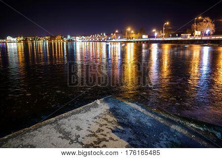 Iced Lake At Night Road