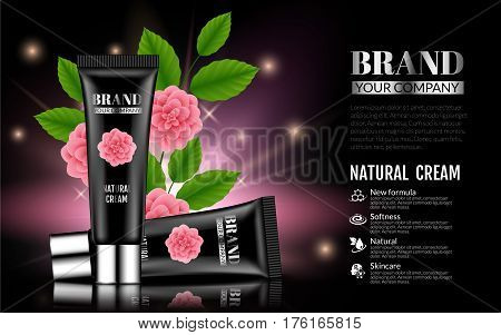 Beautiful Black Gentle Cream Tube on Dark background. Womens Products With Spring Pink Flowers Green Leafs. Cosmetics advertising gentle creams. Baner Template for your text. 3d Vector Illustration.