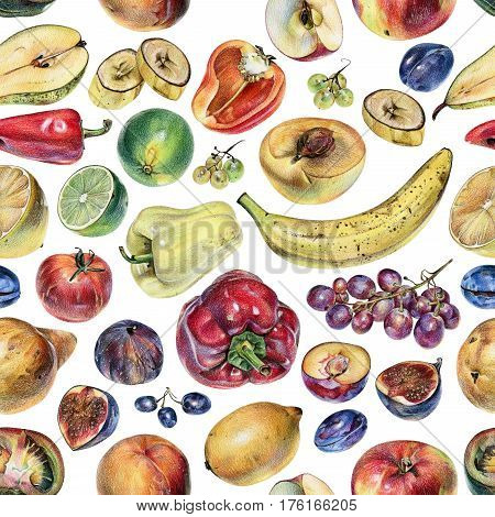 Seamless pattern with fruits berries and vegetables drawn by hand with colored pencil. Healthy vegan food. Fresh raw foodstuffs painted from nature