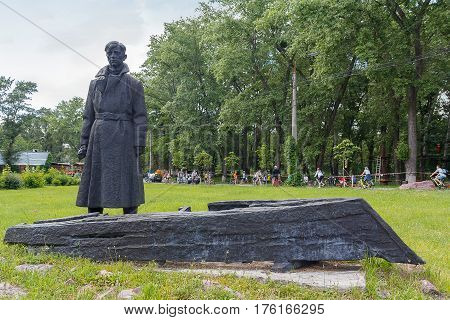 Kiev Ukraine - June 12 2016: Monument to the Red Army soldier returning to the fabled Nazis native village on Trukhanov Island