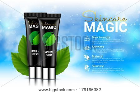 Black Cream Bottles on Soft Blue Background with Leafs Green leaves. Excellent Cosmetics Advertising, Gentle Creams. Cosmetic Package Design Sale or Promotion New Product. 3D Vector Illustration.