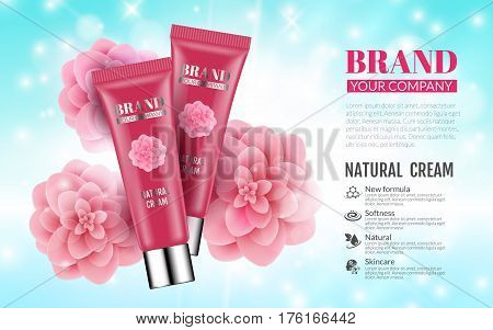 Pink Cream Bottles on Soft Blue Background with Pink Flowers. Excellent Cosmetics Advertising, Gentle Creams. Cosmetic Package Design Sale or Promotion New Product. 3D Vector Illustration.