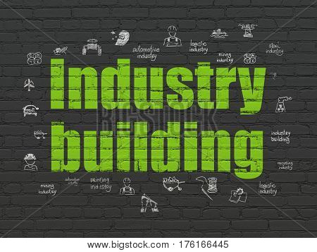Industry concept: Painted green text Industry Building on Black Brick wall background with  Hand Drawn Industry Icons