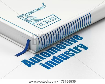 Industry concept: closed book with Blue Industry Building icon and text Automotive Industry on floor, white background, 3D rendering