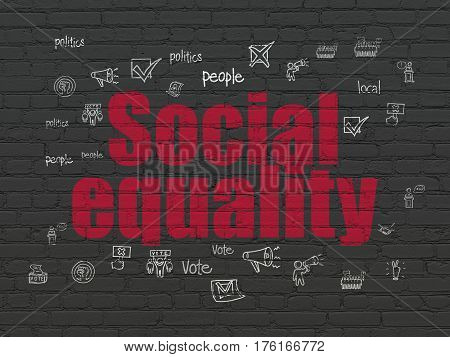 Politics concept: Painted red text Social Equality on Black Brick wall background with  Hand Drawn Politics Icons