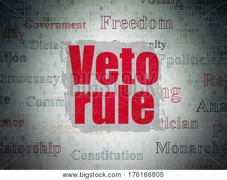 Politics concept: Painted red text Veto Rule on Digital Data Paper background with   Tag Cloud