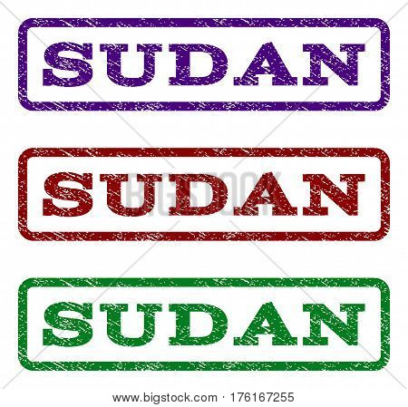 Sudan watermark stamp. Text tag inside rounded rectangle with grunge design style. Vector variants are indigo blue, red, green ink colors. Rubber seal stamp with unclean texture.