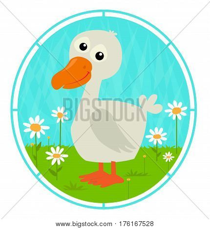Cute cartoon duckling is standing on a grass with white flowers. Eps10