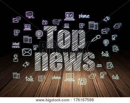 News concept: Glowing text Top News,  Hand Drawn News Icons in grunge dark room with Wooden Floor, black background