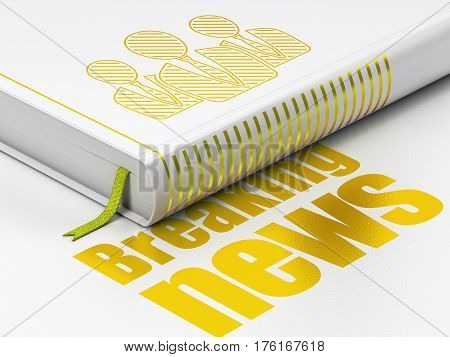 News concept: closed book with Gold Business People icon and text Breaking News on floor, white background, 3D rendering
