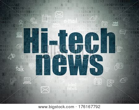 News concept: Painted blue text Hi-tech News on Digital Data Paper background with  Hand Drawn News Icons