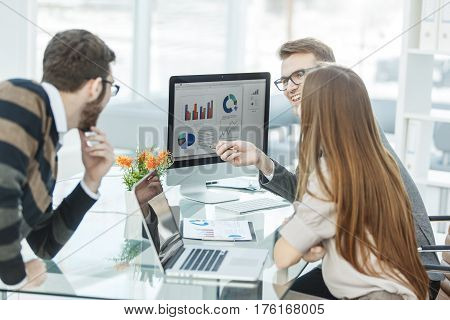 specialist in Finance and professional business team doing analysis of marketing reports, in a modern office