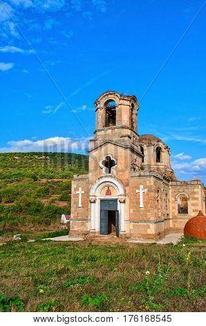 ruins of the Temple of the Apostle and Evangelist Luke Ukraine Crimea Laki village