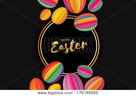 Origami Happy Easter Greating card. Colorful Paper cut Easter Egg. Circle gold frame. Black background. Vector illustration.