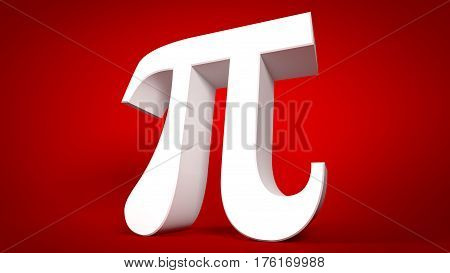 Pi Symbol 3D Illustration for World Pi Day, 17 March Celebration, 3.14 Symbol