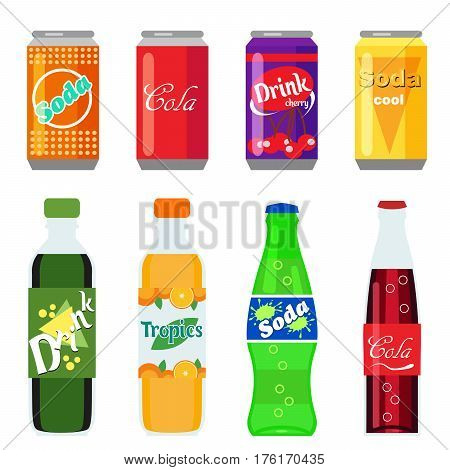 Set of soft drinks in plastic and aluminum packaging. Carbonated water with different flavors. Vector, illustration in flat style isolated on white background EPS10