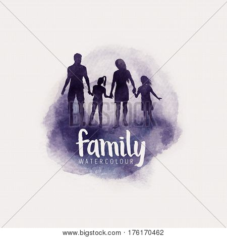watercolour style family Parents and children walking together. vector illustration