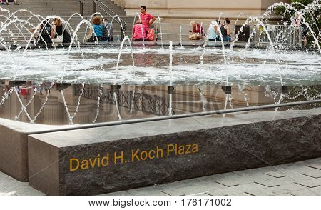 Fountain In David H. Koch Plaza, Nyc.