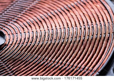 Induction heater copper coil closeup