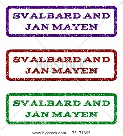Svalbard and Jan Mayen watermark stamp. Text caption inside rounded rectangle with grunge design style. Vector variants are indigo blue, red, green ink colors. Rubber seal stamp with dust texture.