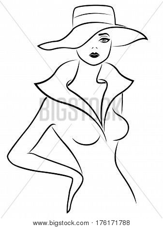 Abstract Young Lady In Hat Outline