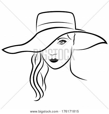 Beautiful Young Lady In Hat Outline