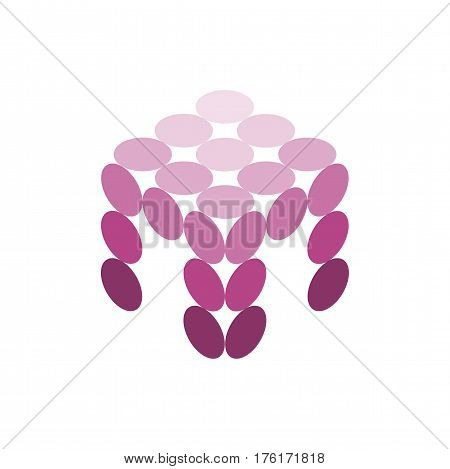 Abstract purple table or stool in isometric view the color purple. Vector dots