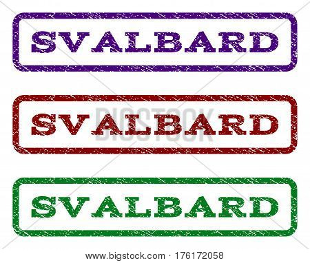 Svalbard watermark stamp. Text tag inside rounded rectangle with grunge design style. Vector variants are indigo blue, red, green ink colors. Rubber seal stamp with dirty texture.