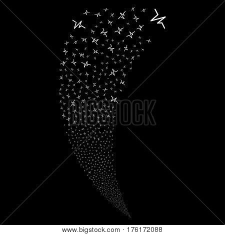 Pulse random fireworks stream. Vector illustration style is flat white iconic symbols on a black background. Object fountain combined from scattered design elements.
