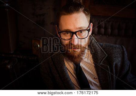 Portrait Of Handsome Adult Man In Glasses ,business Man ,stylish Brunette Hipster