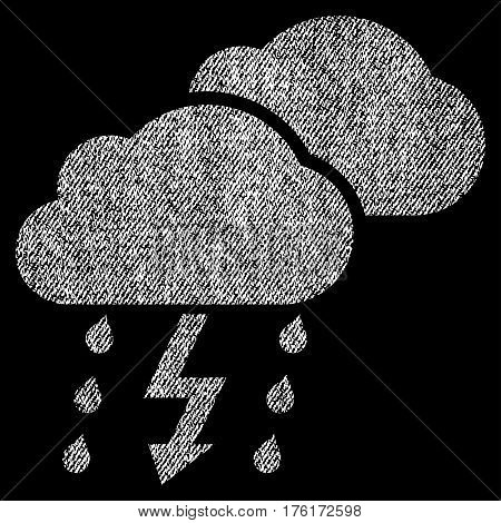 Thunderstorm Clouds vector textured icon for overlay watermark stamps. Fabric white vectorized texture. Symbol with dirty design. Rubber seal stamp with fiber textile structure.