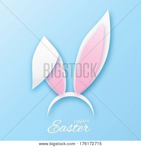 Funny Bunny. Happy Easter ears paper cut mask. Origami white Rabbit ear spring hat. Seasonal greeting card. Blue background. Vector illustration.